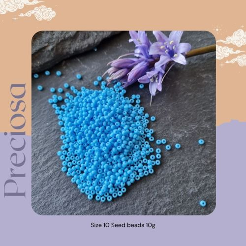 Preciosa Czech size 10 seed beads  - Opaque Turquoise blue