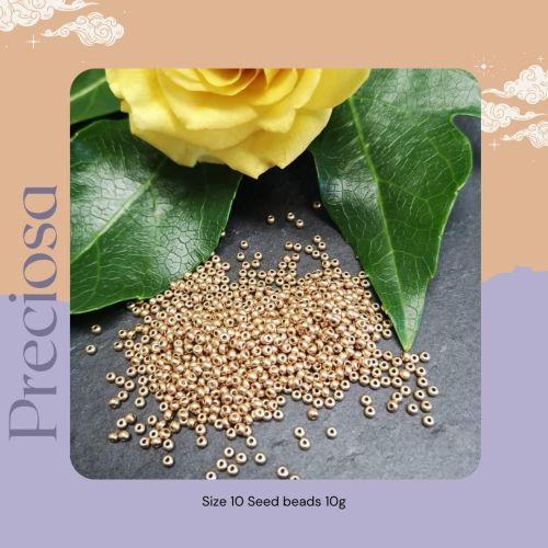Preciosa Czech size 10 seed beads  - Metallic Gold
