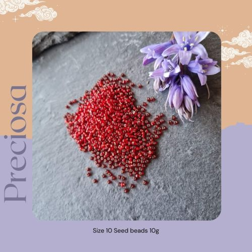 Preciosa Czech size 10 seed beads  - Silver Lined Red