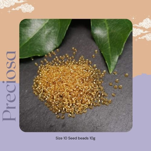 Preciosa Czech size 10 seed beads  - Silver Lined Gold