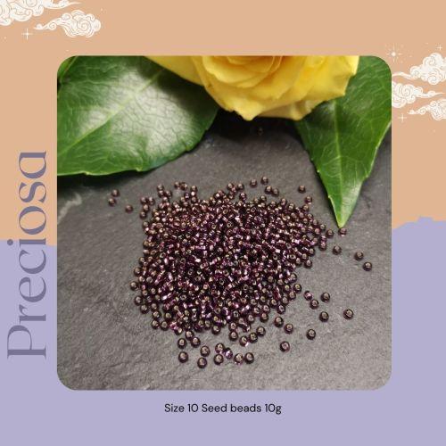 Preciosa Czech size 10 seed beads  - Silver Lined Purple