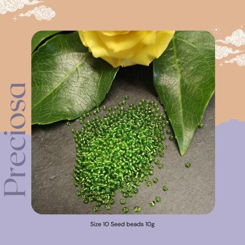 Preciosa Czech size 10 seed beads  - Silver Lined Light Green