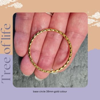 Tree of Life pendant base soldered circle 38mm - Gold colour