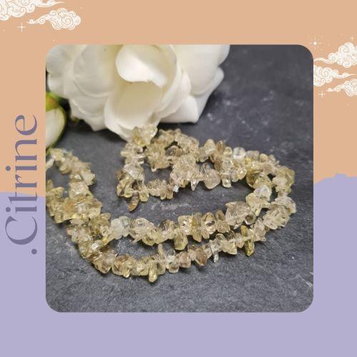 Citrine gemstone Chips 8 inch strand