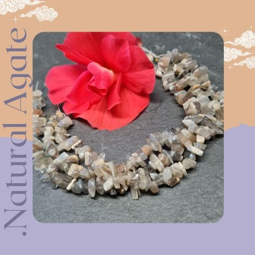 Natural Agate gemstone Chips 8 inch strand