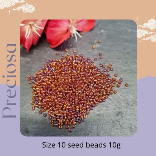 Preciosa Czech size 10 seed beads  - Ab Smokey Topaz