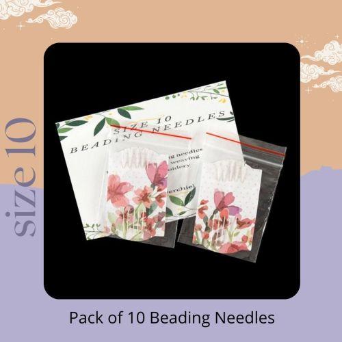 Pack of 10 beading needles size 10