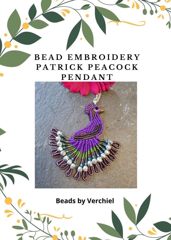 <!001->Bead embroidery Patrick Peacock Pendant  kit