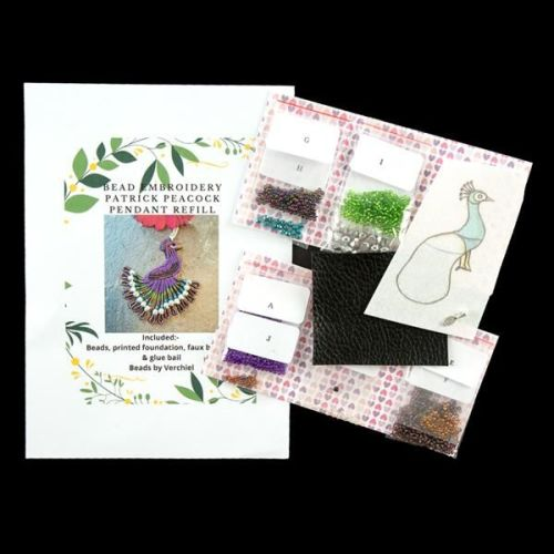<!001->Bead embroidery Percy Peacock Pendant REFILL kit