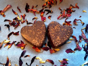 Raw Chocolate Hearts with an Almond Butter Centre x 2