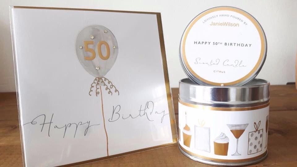 50th Birthday Card and matching candle
