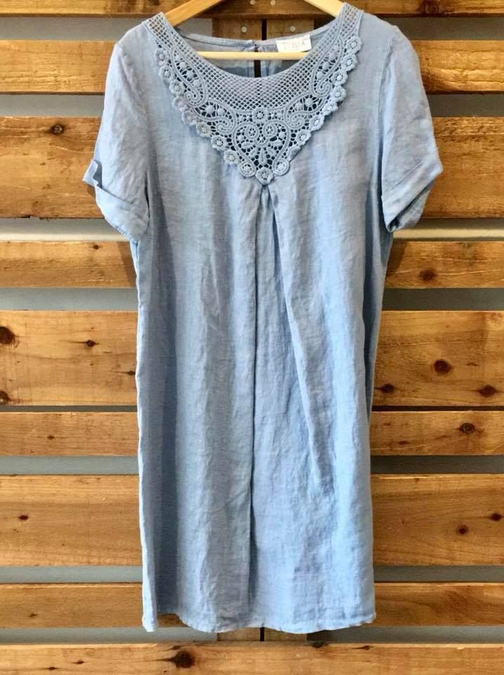 Crochet v neck linen dress