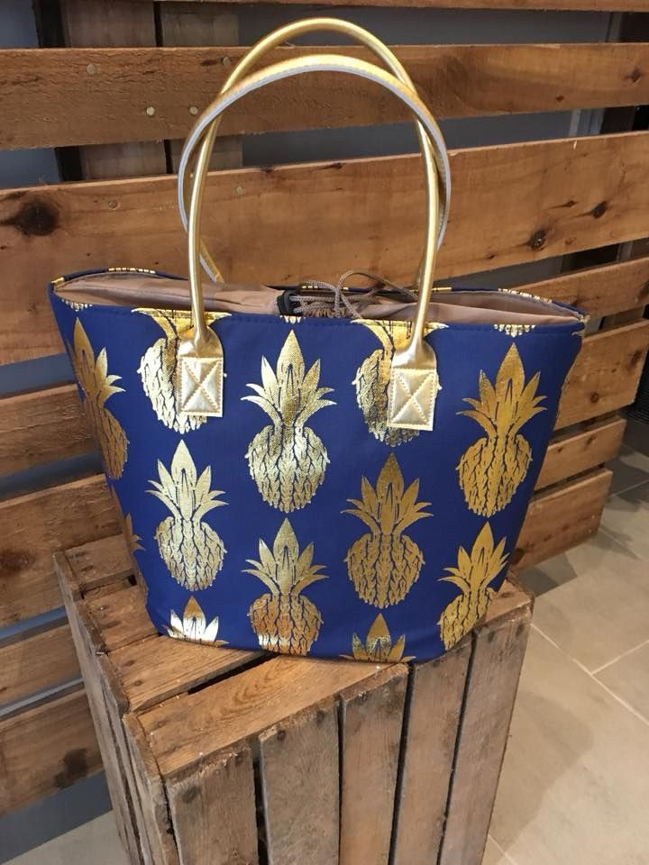 Navy Beach Bag with Gold Pineapples