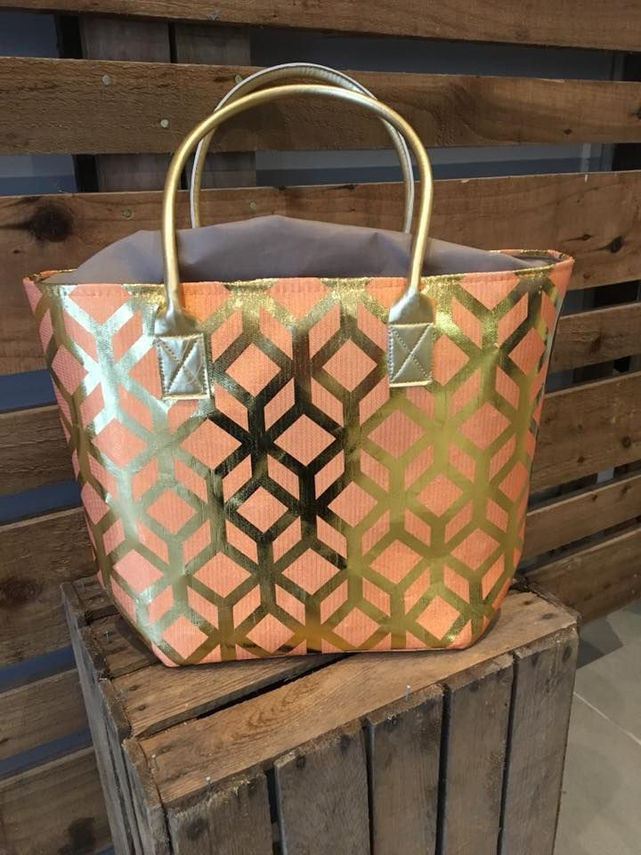 orange and gold beach bag
