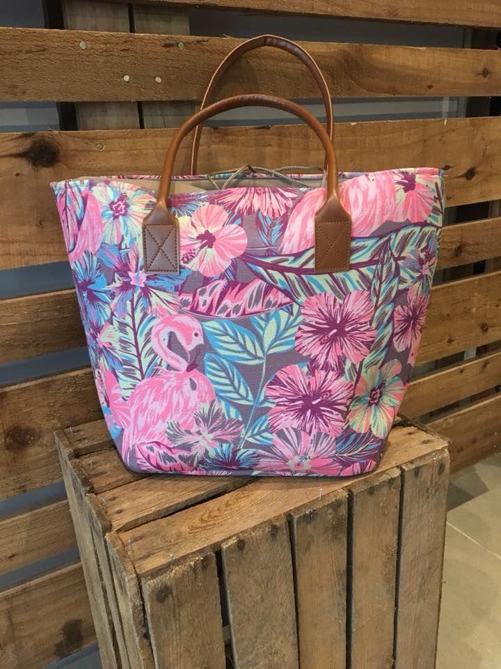 pink flamingo beach bag