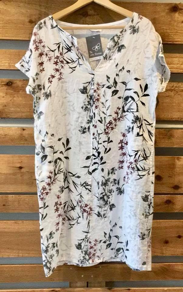 Luella White Floral linen dress