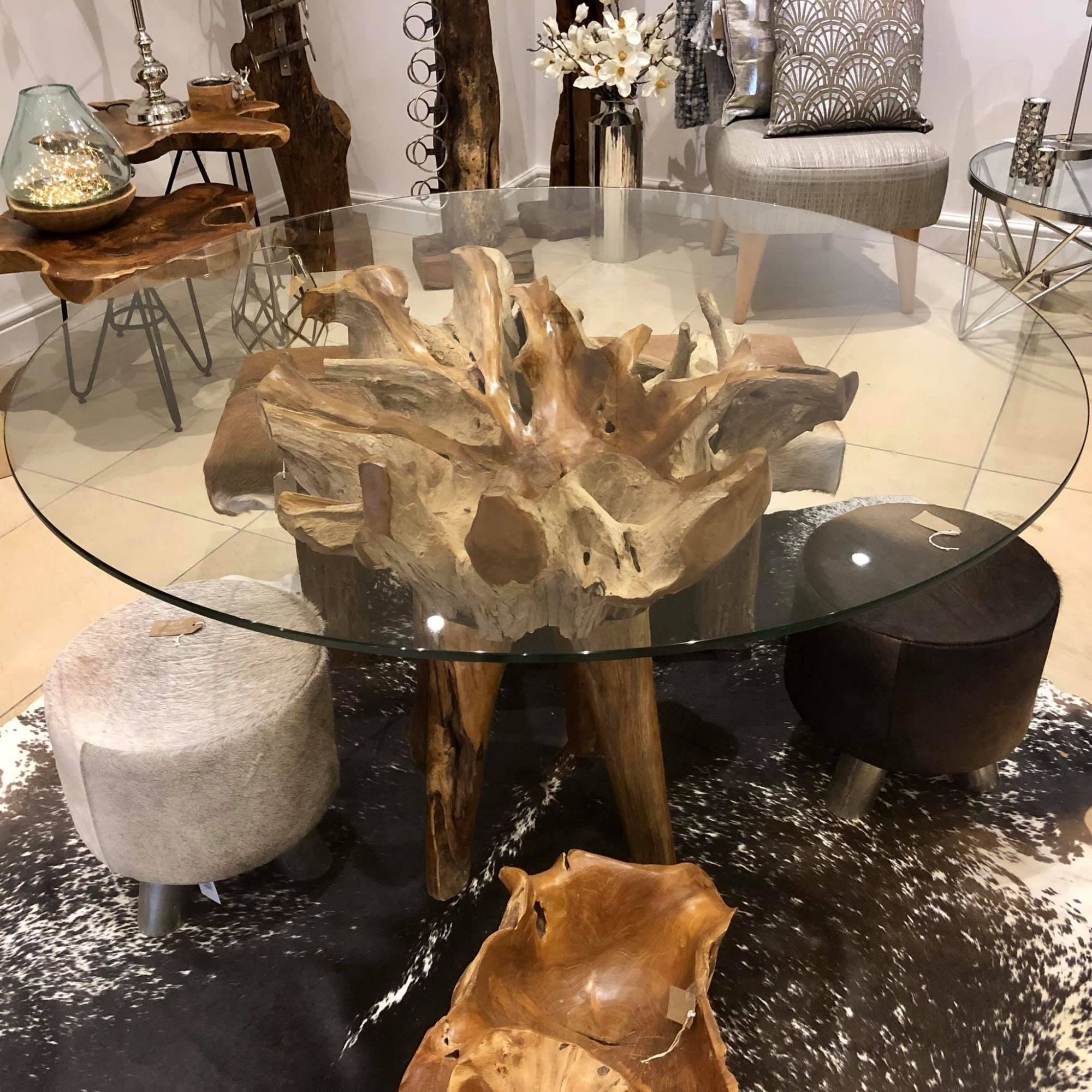Tree Root Based Glass Table