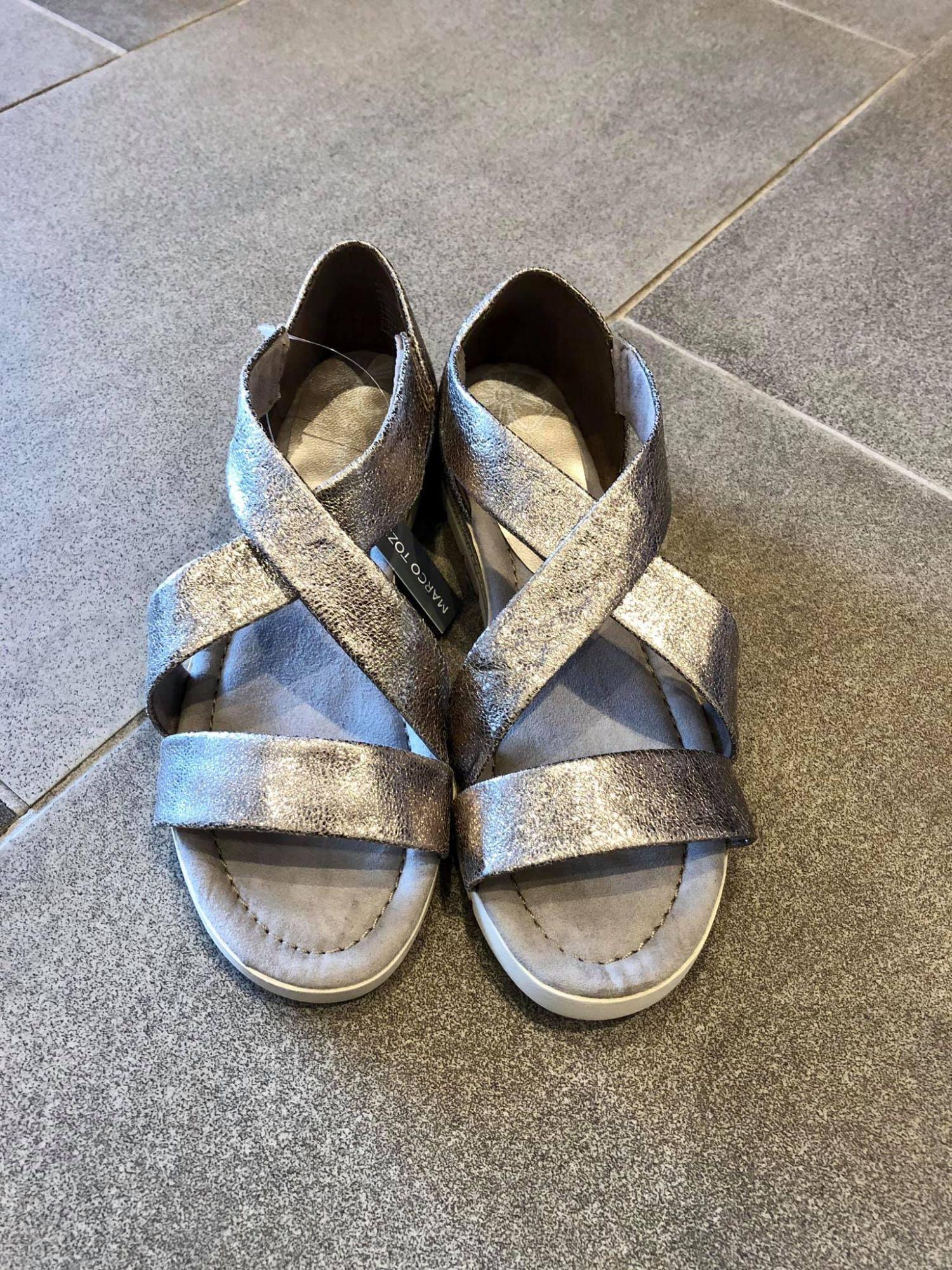 Light grey metallic sandals