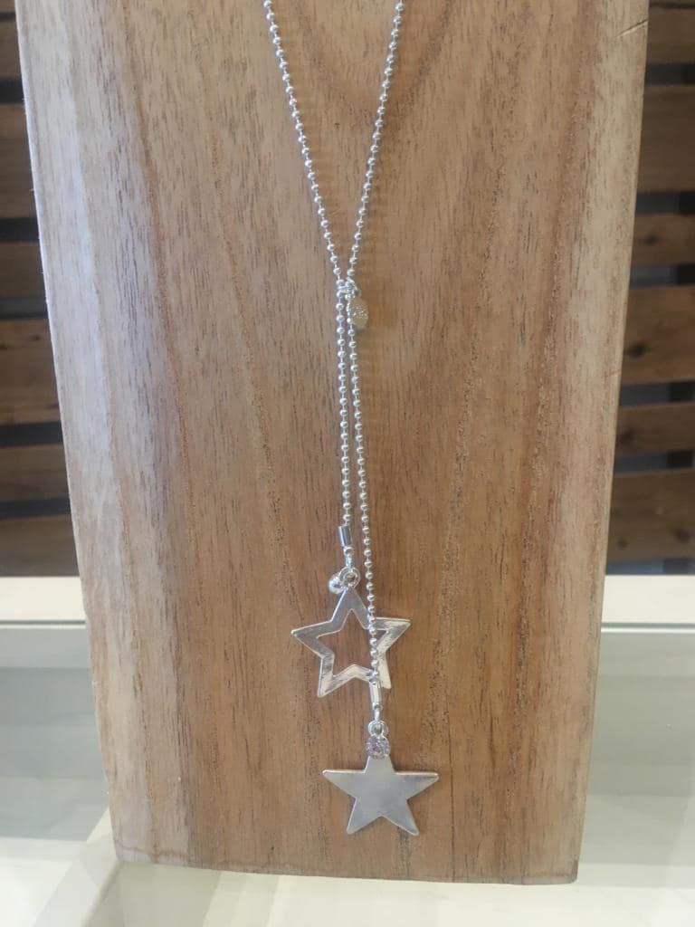 Two Stars Silver Pendant