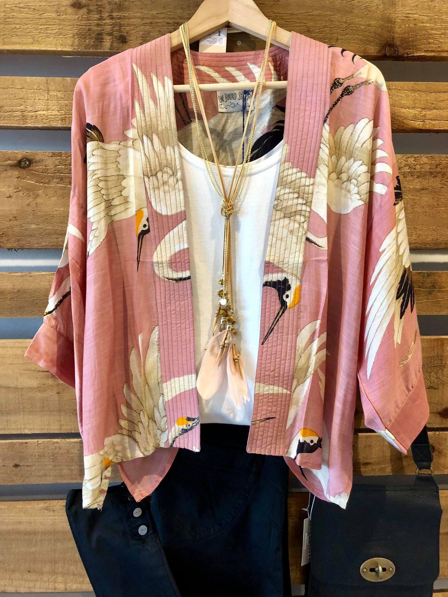 Pink kimono outfit