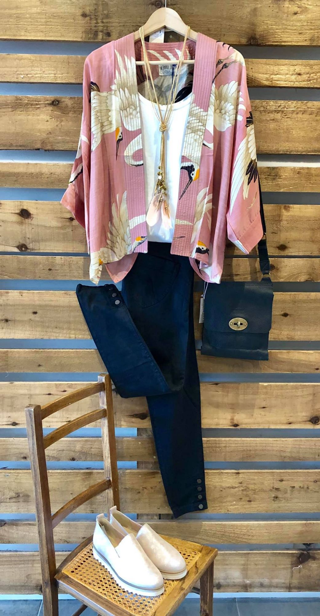 Pink Kimono and button detail jeans