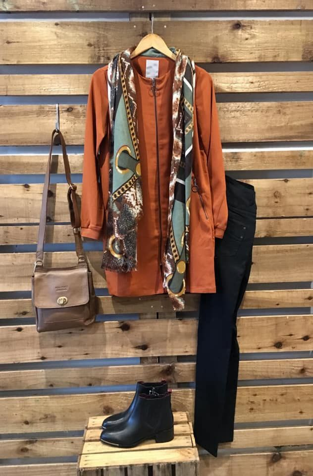 Terracotta coat outfit