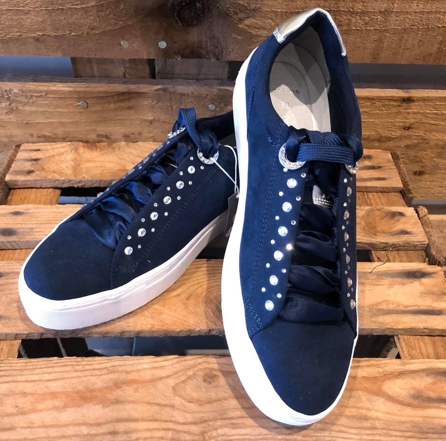 Navy Trainer with diamante