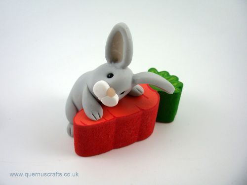 Little Grey Bunny with Wooden Carrot (MQEL)