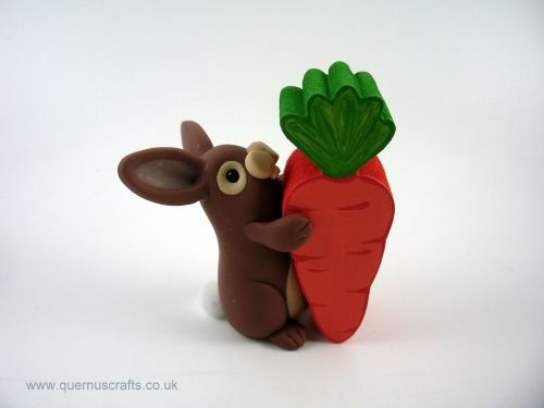Little Brown Bunny with Wooden Carrot (MQEL)