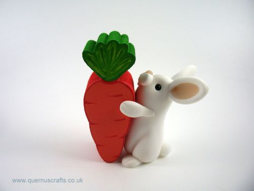Little White Bunny with Wooden Carrot (MQEL)