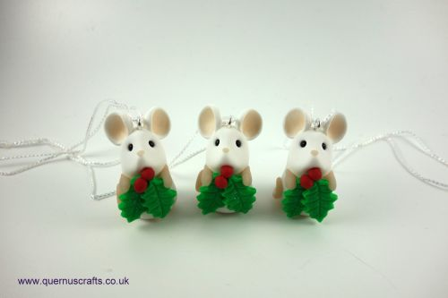 Tiny Holly Mouse Tree Decoration QCL