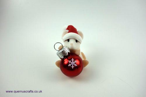 Little Sparkly Snowflake Santa Bauble Mouse Shelf Ornament QCL