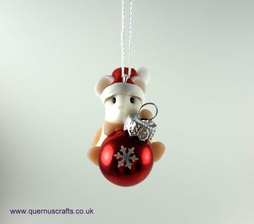 Little Sparkly Snowflake Santa Bauble Mouse Tree Decoration QCL