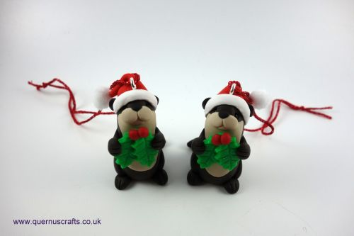 Little Holly Santa Otter Tree Decoration QCL