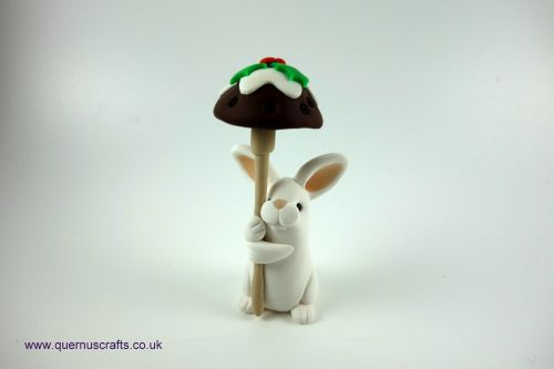 Little Christmas Pudding Toadstool Bunny QCL
