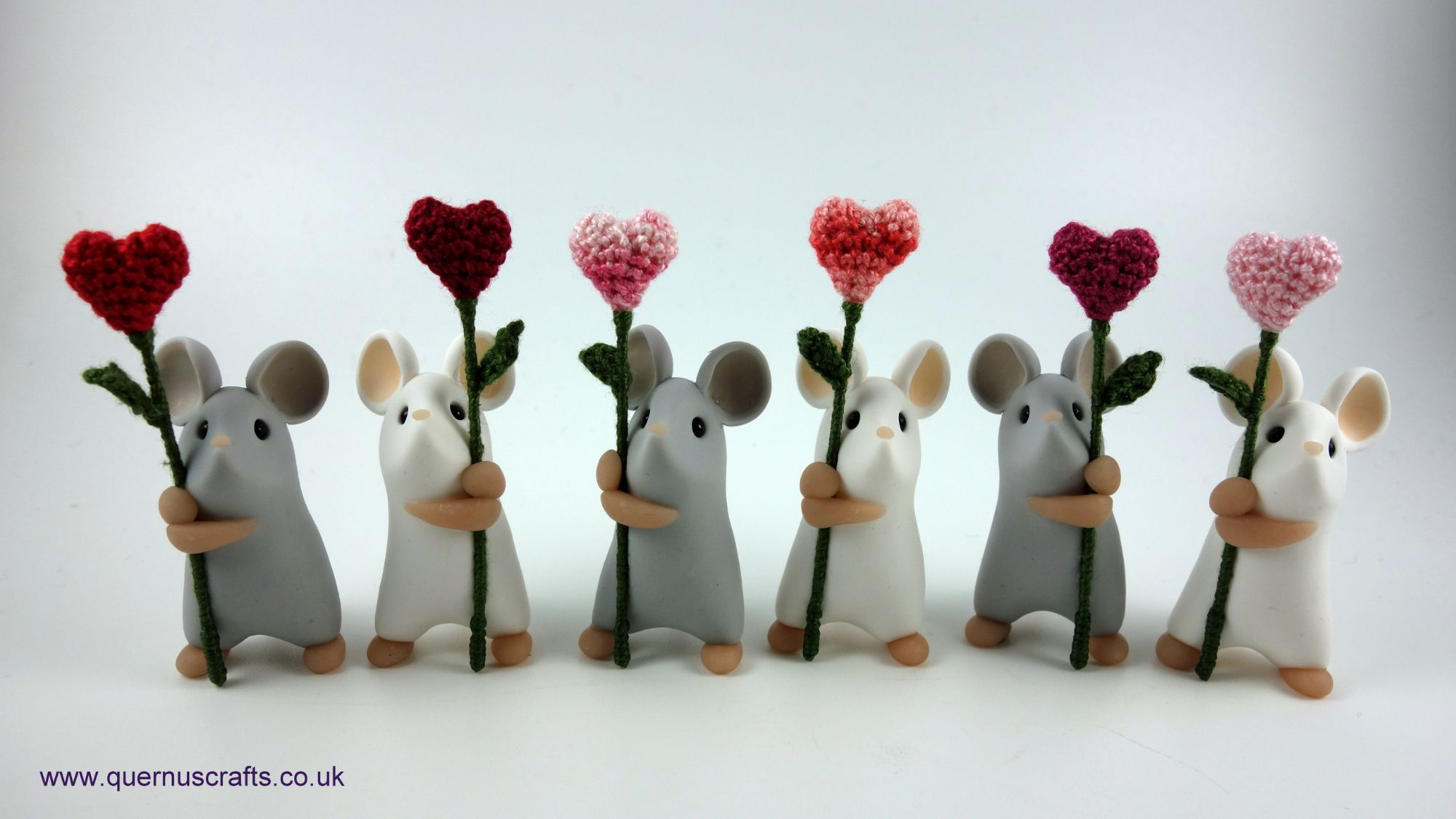 Little Mice with Heart Flowers
