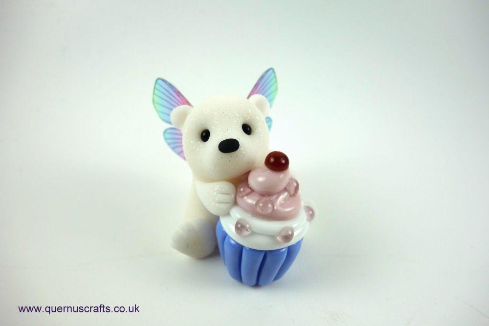 Little Fairy Polar Bear with Glass Cupcake