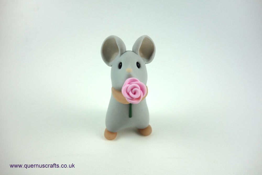 Little Mouse with Pink Rose