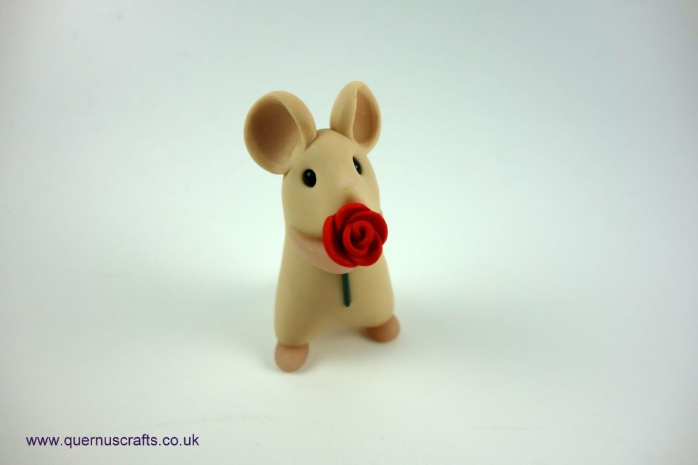 Little Mouse with Red Rose