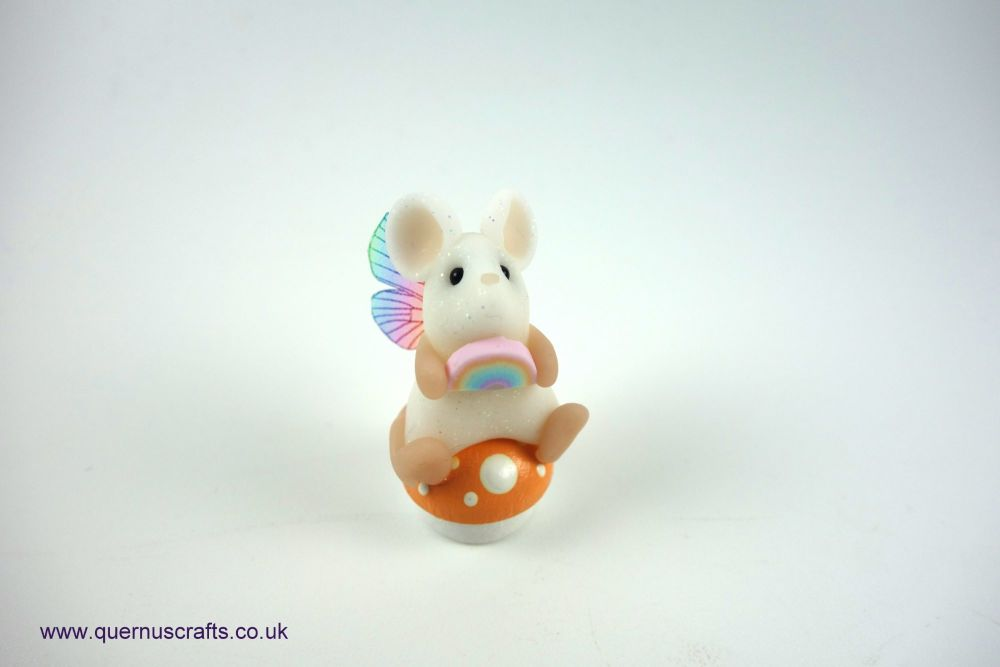 Teeny Fairy Rainbow Toadstool Mouse (Peach)