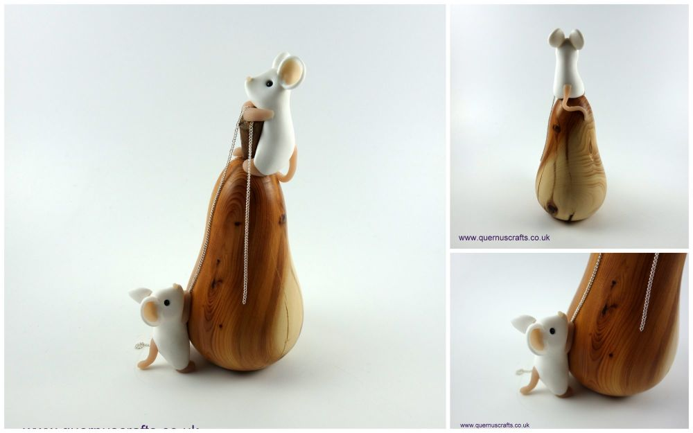 Two Mice on Wooden Pear (2)