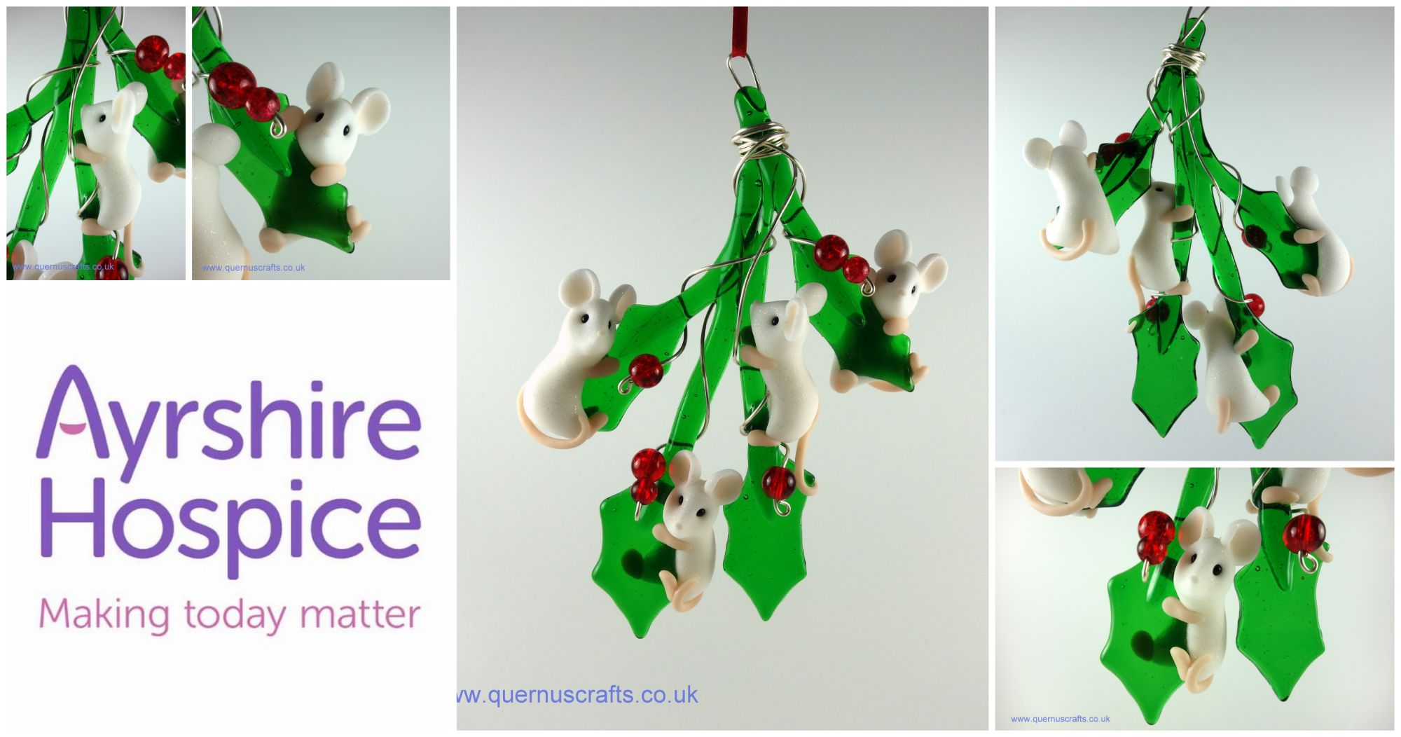Glass Holly Mice