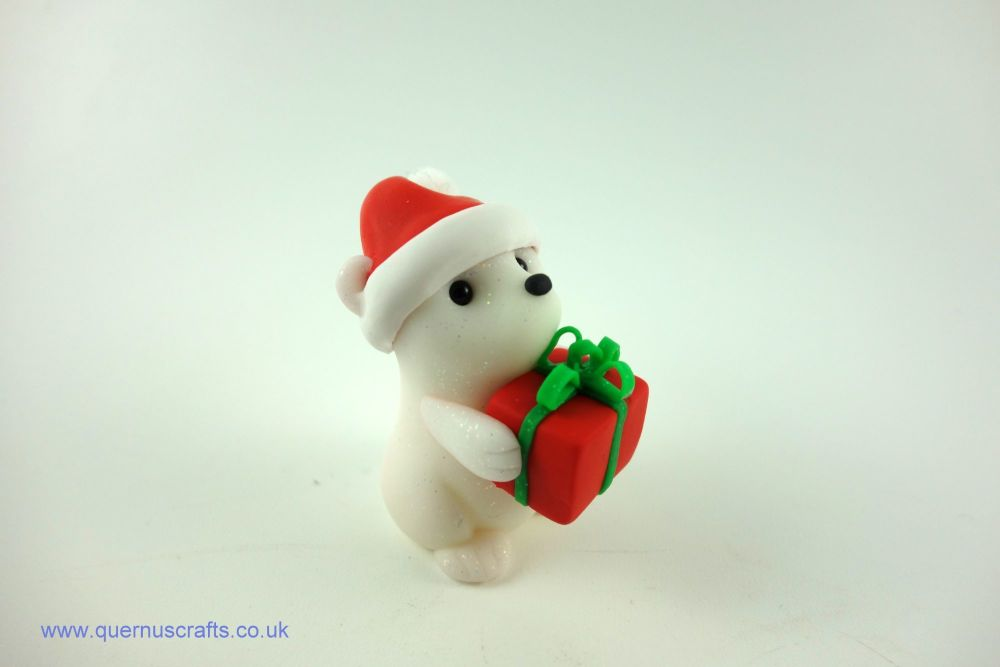 Little Santa Polar Bear with Gift