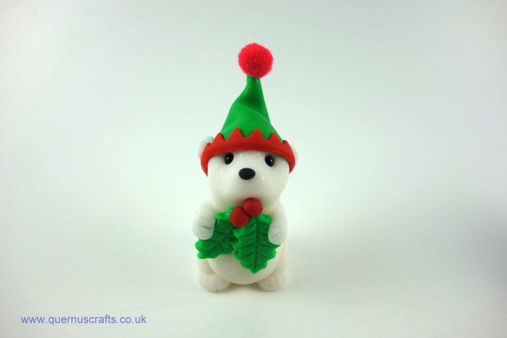 Little Elf Polar Bear with Holly