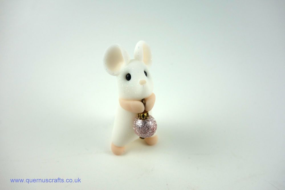 Little Mouse with Tiny Pale Pink Bauble