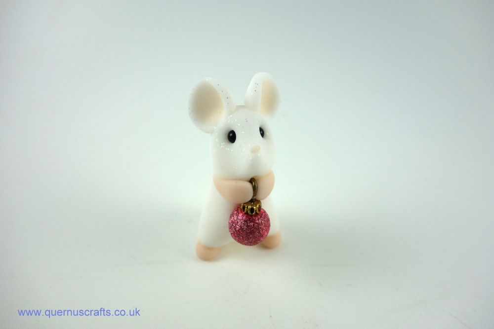Little White Mouse with Tiny Dark Pink Bauble