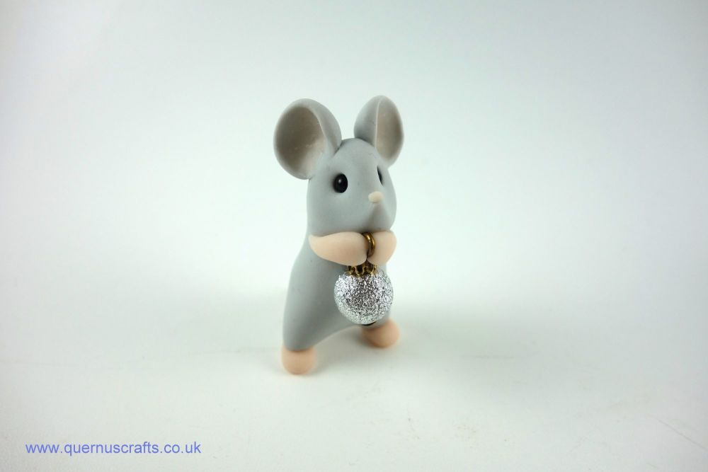 Little Grey Mouse with Tiny Silver Bauble