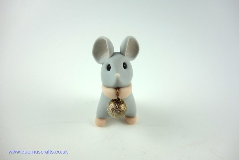 Little Grey Mouse with Tiny Gold Bauble