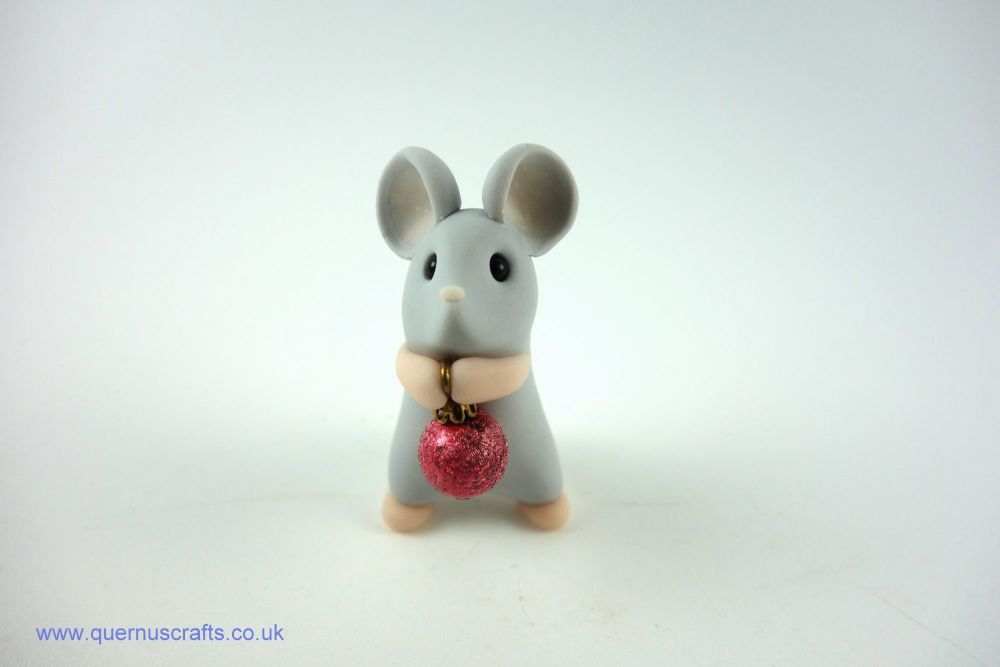 Little Grey Mouse with Tiny Dark Pink Bauble