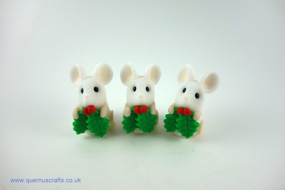 Tiny Holly Mouse Shelf Ornament (3 available)